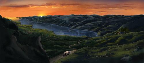 美丽的山景,风景秀丽,山间水,橙色的云,在路上的车