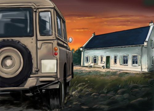 vehichle on road, zeep travelling on grass, house in the farm, dark sky