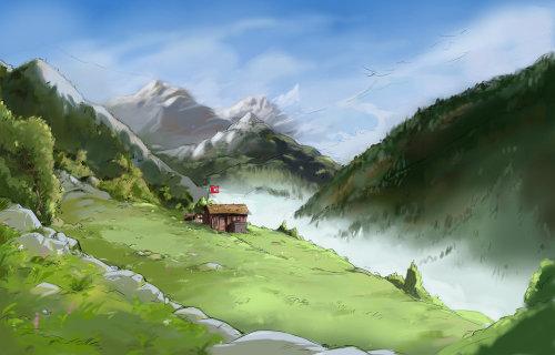 美丽的山丘,有多云的天空,绿色的草地上的小房子,与山的风景