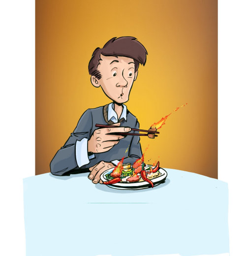 man eating food with fire on it, person looking strange at eatable, yellow background