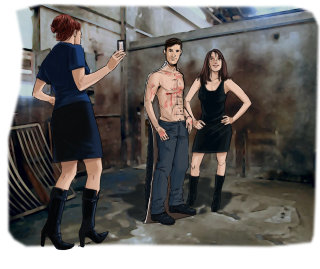 Man standing with bare chest, woman with hands on hips, Girl showing mobile