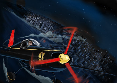 Single man flying an aeroplane in the night, red wheel rotating, city view