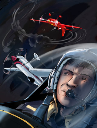 Man with head gear, aeroplane moving, fighter pilot in the sky