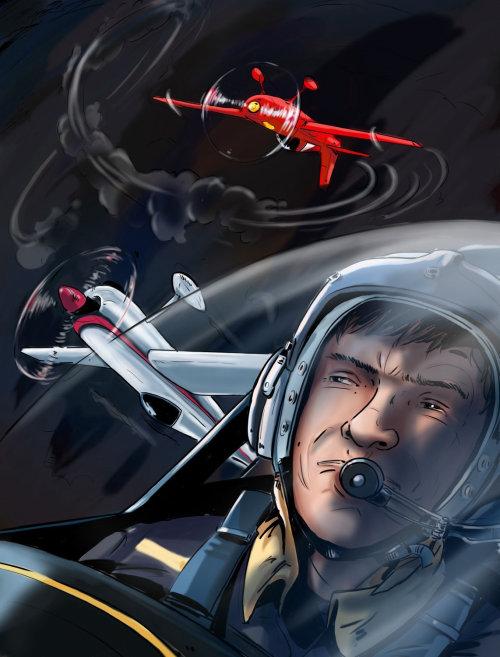 头齿轮,飞机移动,战斗机飞行员在天空中的男人