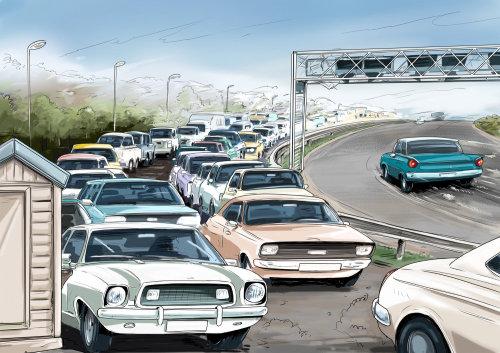 多辆汽车在道路上行驶,一侧阻塞道路,绿色汽车在公路上行驶