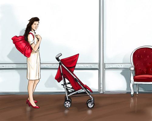 有红色袋子身分的女孩,在前面的孩子载体,站立在大厅的妇女