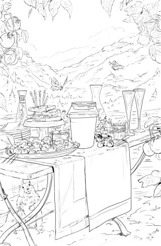Line drawing of outdoor lunch party