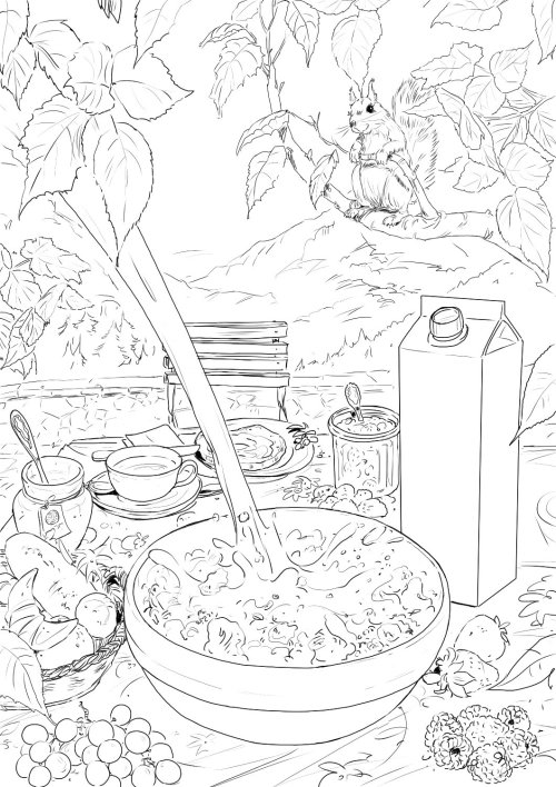 Line drawing of food and tree leaves, eatables on table