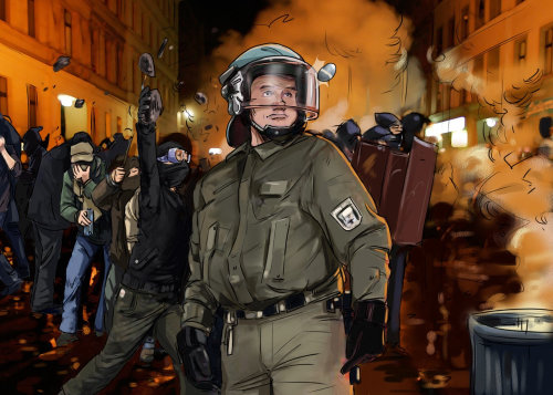 policeman standing with helmet on, people protesting in the background, fire smoke in the background