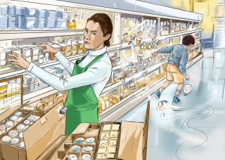 Women in the grossery store, items falling down, boy with a ball, keeper arranging products in shelf
