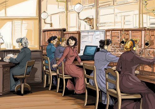 在桌子前工作的四个女孩,穿着红色连衣裙的女人转身,桌上的电脑