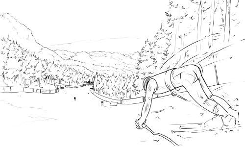 男人用棍子在手中倾斜向前,黑白铅笔背景,树木和栏杆绘制
