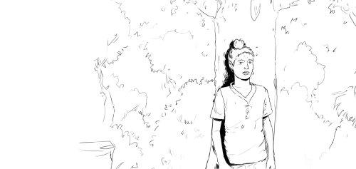 男孩站在树下,一个少年的铅笔画有黑白自然背景