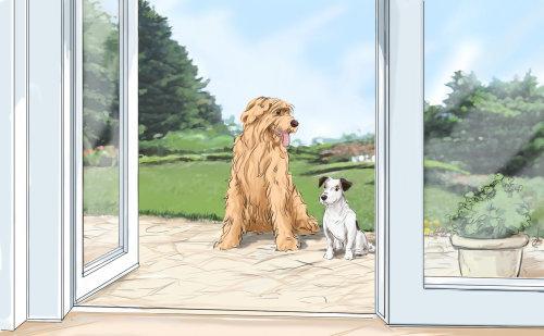 大棕狗和白色和黑色的小狗坐在花园里