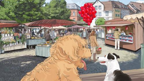 金毛在街头市场上的插图