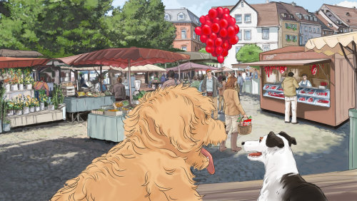 illustration of golden retriever in a street market