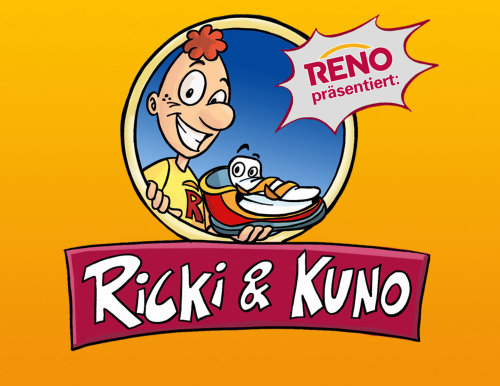 Ricki & Kuno text on yellow background, Cartoon character with smily face