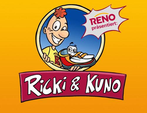 Ricki&Kuno在黄色背景上的文字,卡通人物与笑脸