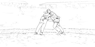 human wrestling on the field, black and white lines drawn to create characters,