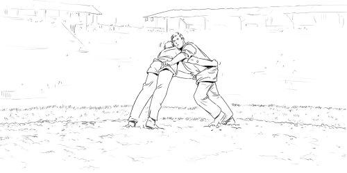 人类在田间摔跤,画出黑白线条以创造角色,