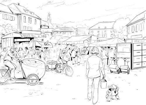 line drawing of street with people all around