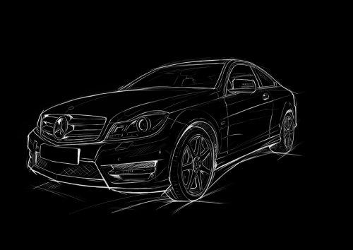 黑色背景上的车