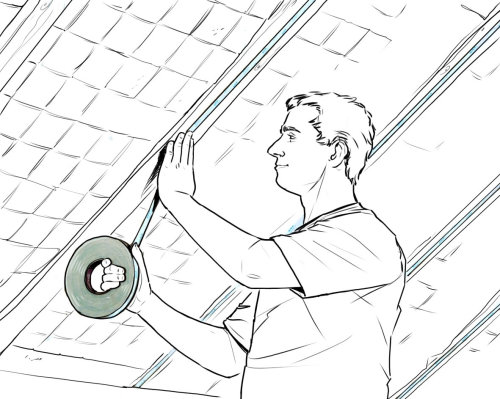 line drawing of a man taping the wall
