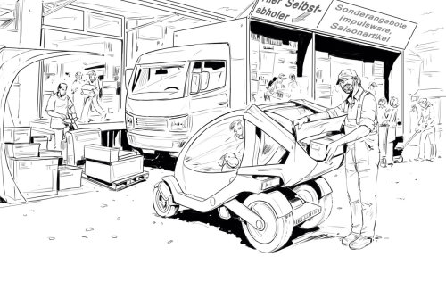 black and white line drawing of heavy trucks in the background