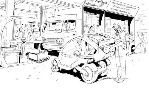 重型卡车在背景中的黑色和白色线条画