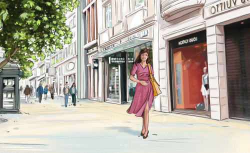Girl with pink frock walking on the road, buildings in the background