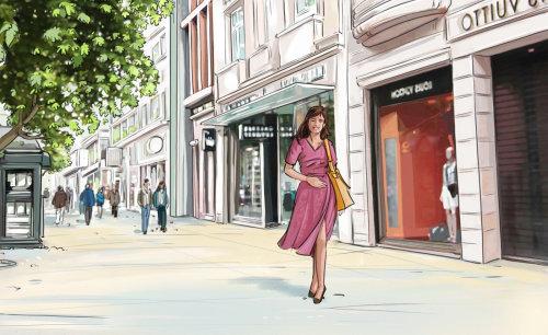 粉红色的连衣裙,走在路上,建筑物在背景中的女孩