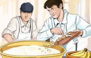 2 chefs slicing vegetables and cooking in hot water