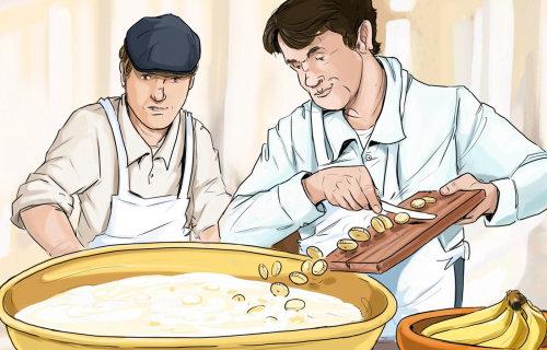 2名厨师切蔬菜并用热水煮饭