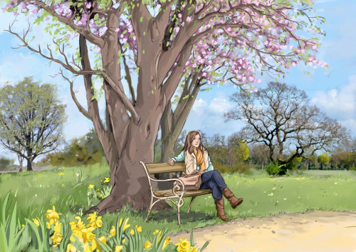 beautiful scenery with tree and flowers, girl sitting on bench