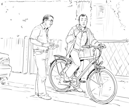 people on the road, man sitting on cycle