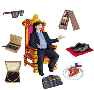 person sitting on chair with all kind of accessories around