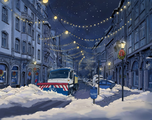 street decorated with lights in the night, big vehichles clearing snow on the road