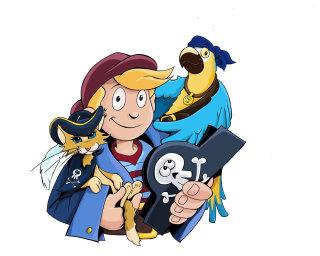 Cartoon girl with birds illustration By Thomas Andrae