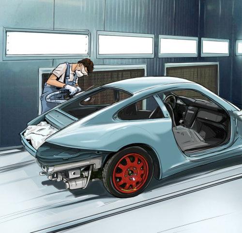 man repairing a blur car in the garrage