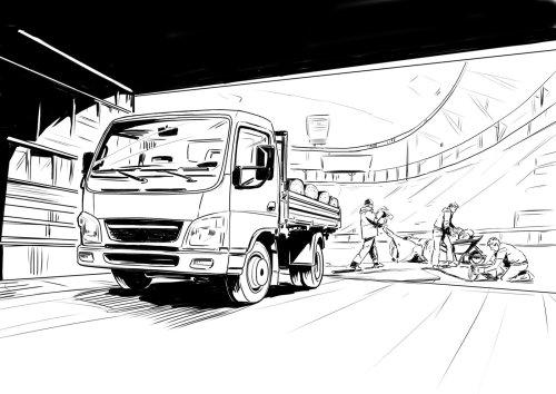 重型卡车在桥下行驶,车辆线条艺术