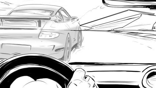 手放在驱动轮,汽车在前面,黑色和白色背景