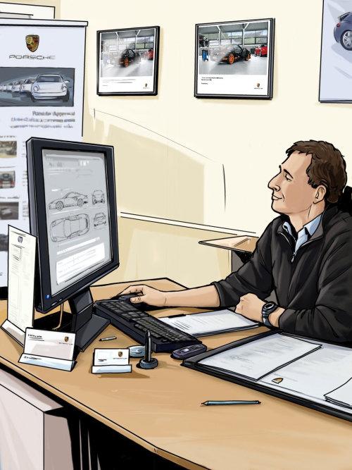 坐在电脑前,在桌子上工作的人