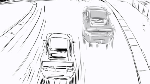 Line drawing of Cars racing on track