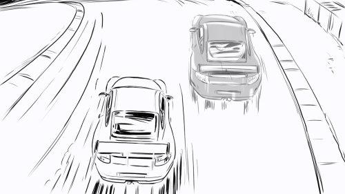 赛车在赛道上的线描