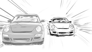 Line drawing of black and white car racing