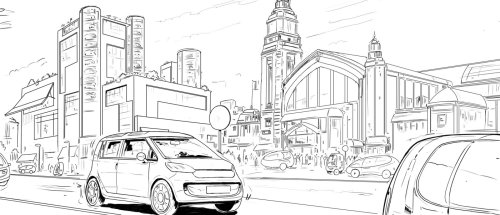 Line drawing of a street view building and car