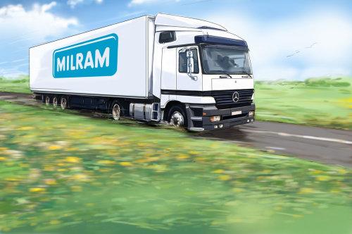 Package van travelling on road