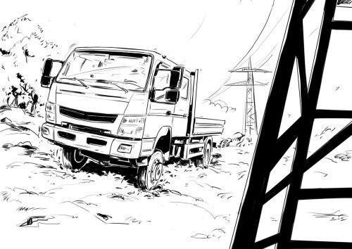 重型卡车在大功率电线旁边