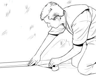 Line drawing of a person taping a package