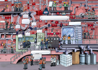 technical view of city with buildings and big screens